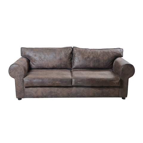 S Sofa 188 Brown Leather Effect Cotto