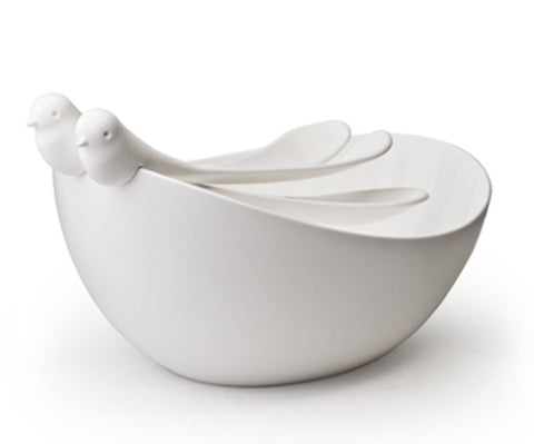 Sparrow Salad Bowl with servers White