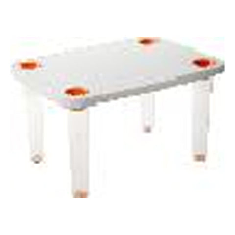 TABLE, CLEAR PC LEGS+ORANGE BASE
