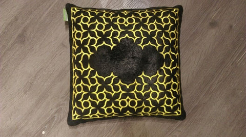 CUSHION india Black Leather Effect / yellow