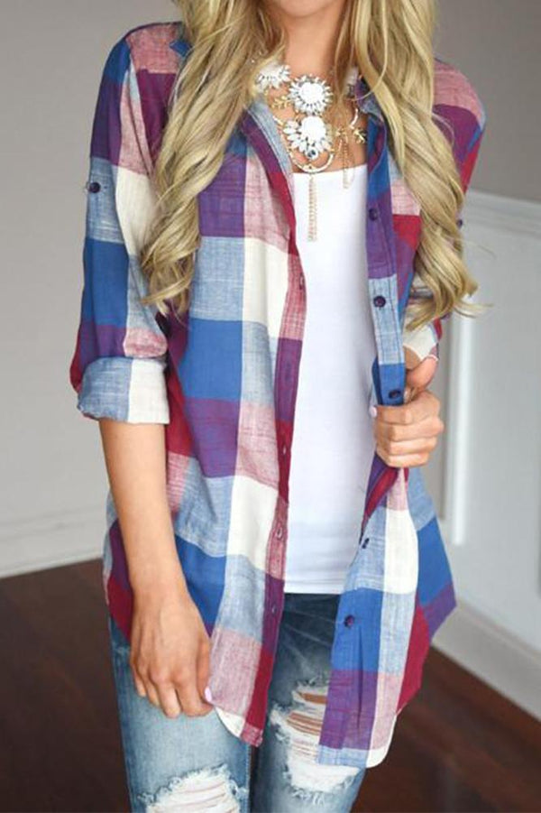 Soft Colored Plaid Loose-Fit Women's Shirt