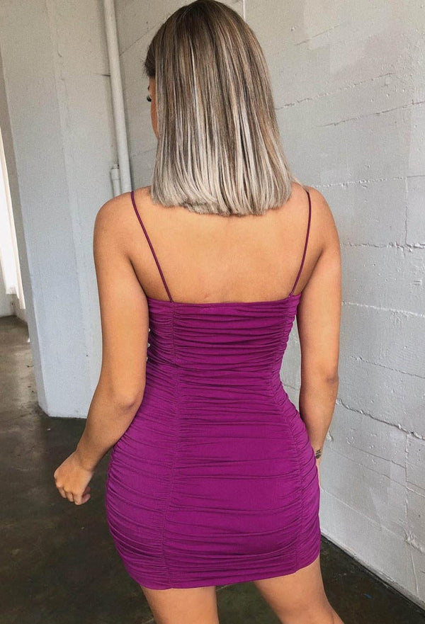 Sexy Purple Pleated Bodycon Dress - Bodycon Dresses-momochoice
