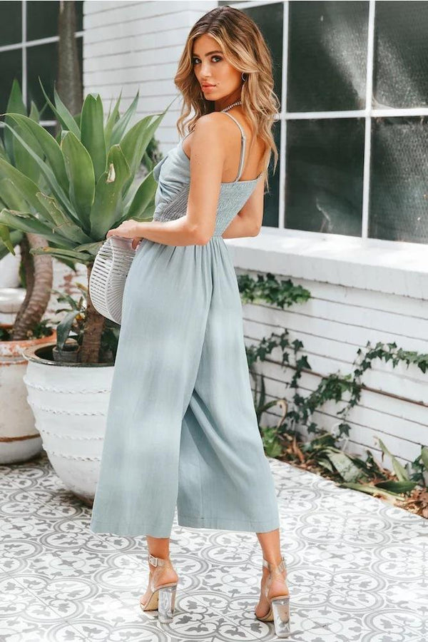 Sexy Hollow Tie-Front Jumpsuit - Jumpsuits-momochoice