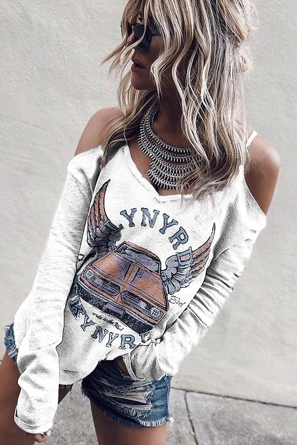 Stylish Printing Off-Shoulder Long Sleeve Women's Tee-S / White-looksinn