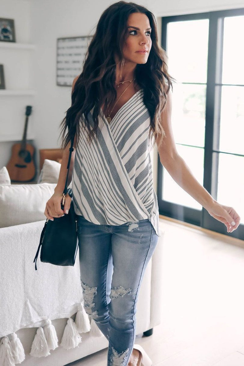 Simple V-Neck Stripes Casual T-Shirt