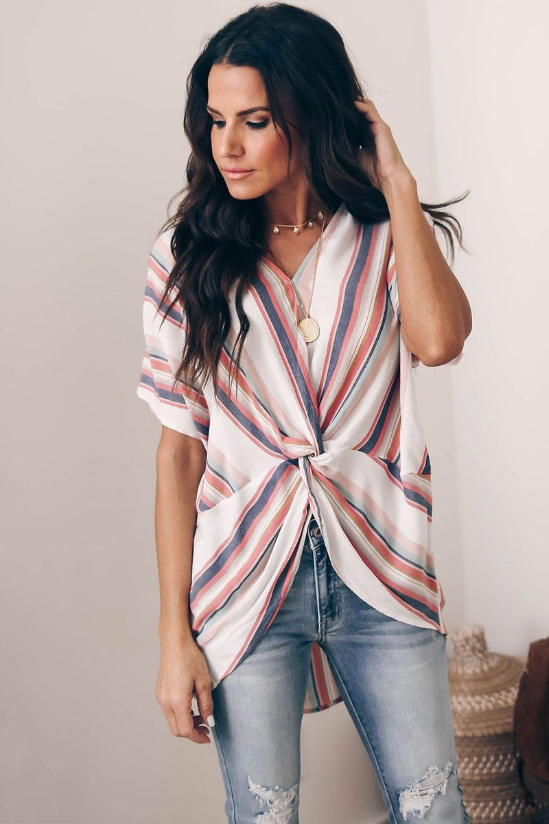Casual Colored Stripes Short Sleeve T-Shirt - T-Shirts-momochoice