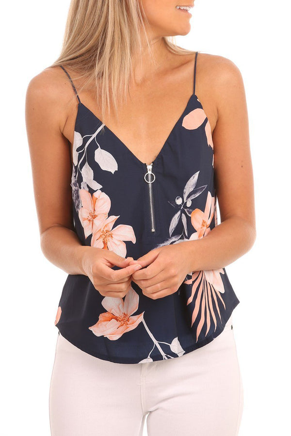 Stylish Zipper Floral Printing Tank Top