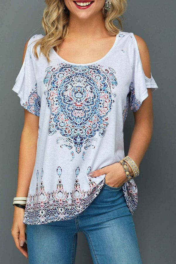 Soft Off-Shoulder Printing T-Shirt