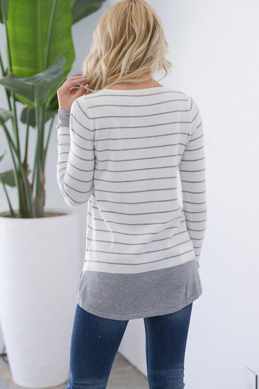 Casual Round-Neck Stripes Pocket Tee - Tees-momochoice