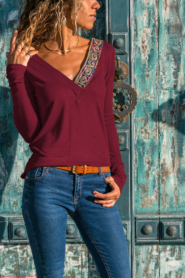 Sexy V-Neck Patchwork Long Sleeve Tee