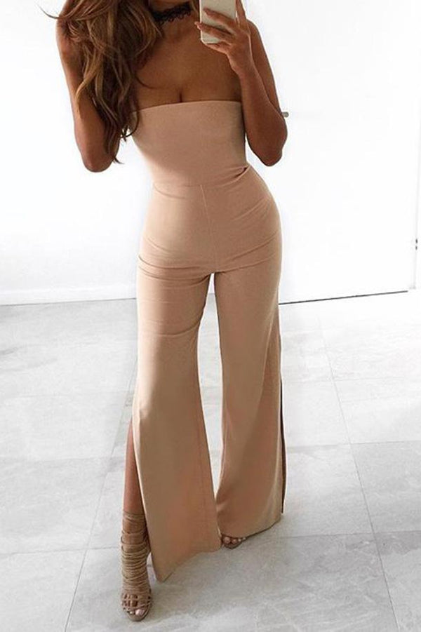Elegant Strapless Side-Slit Skinny Jumpsuit - Jumpsuits-momochoice