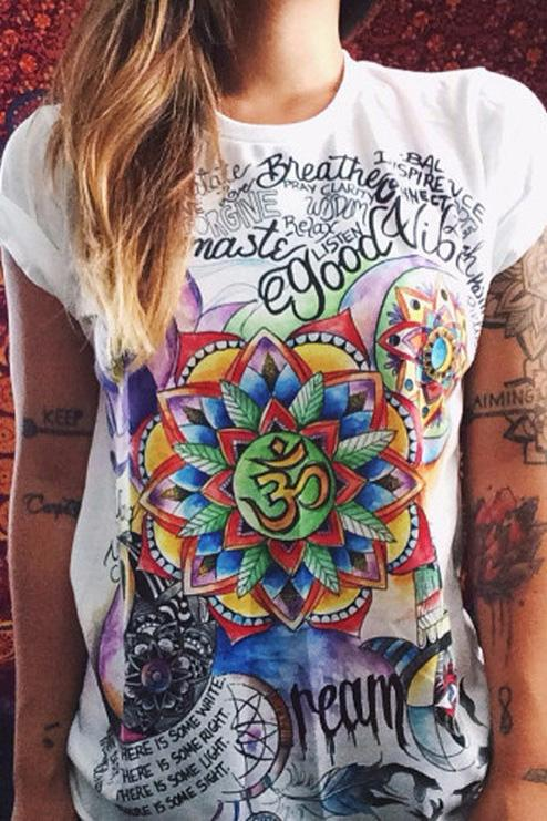 Vogue Colored Printing Short Sleeve T-Shirt