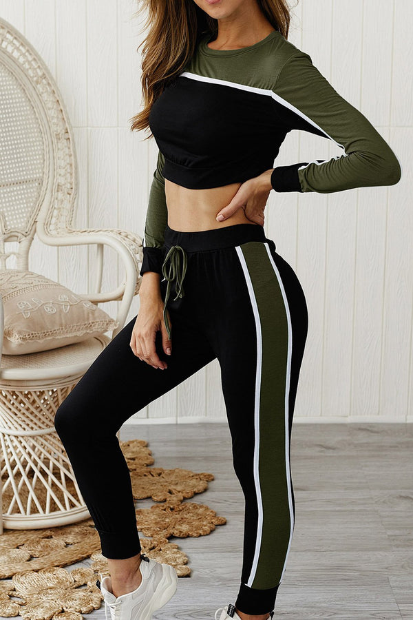 Soft Color Block Crop Top Sports 2-Piece Outfit