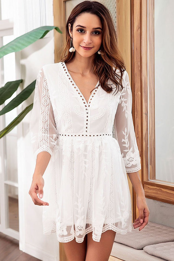 Chic Embroidery See-Through Lace Dress - Lace Dresses-momochoice