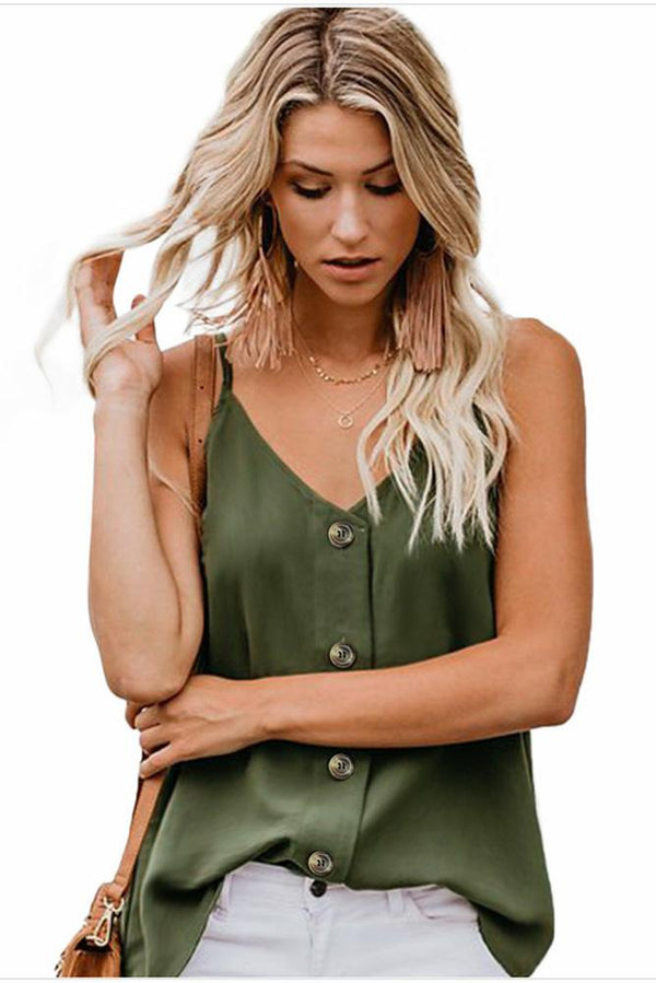 V-Neck Vest Button Casual Tank Top