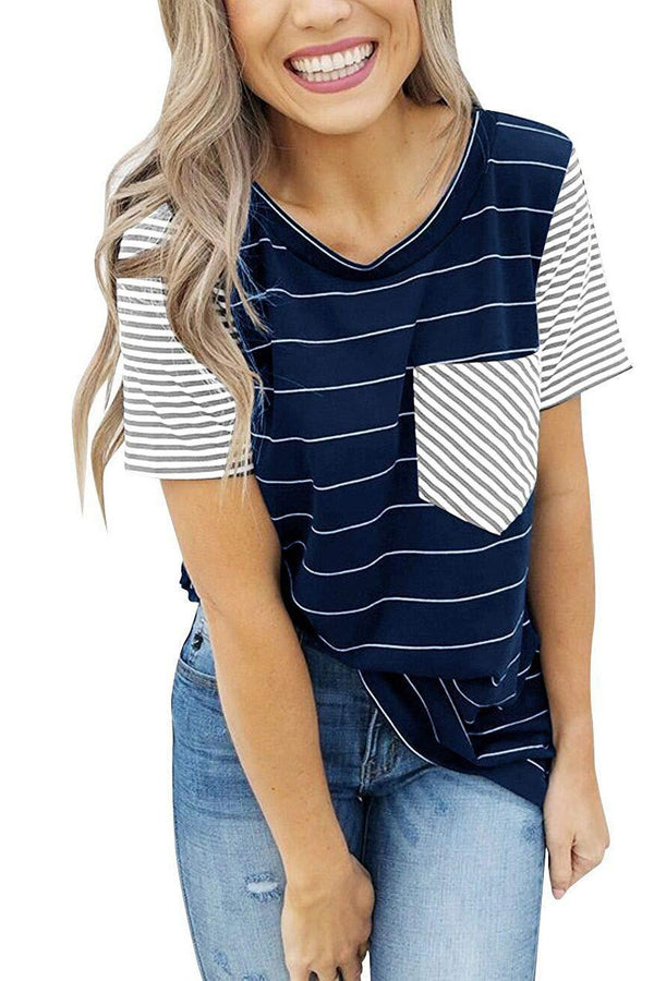 Round Neck Color Block Stripes T-Shirt - T-Shirts-momochoice