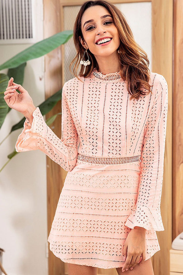 Elegant Hollow Flare Sleeve Lace Dress - Lace Dresses-momochoice