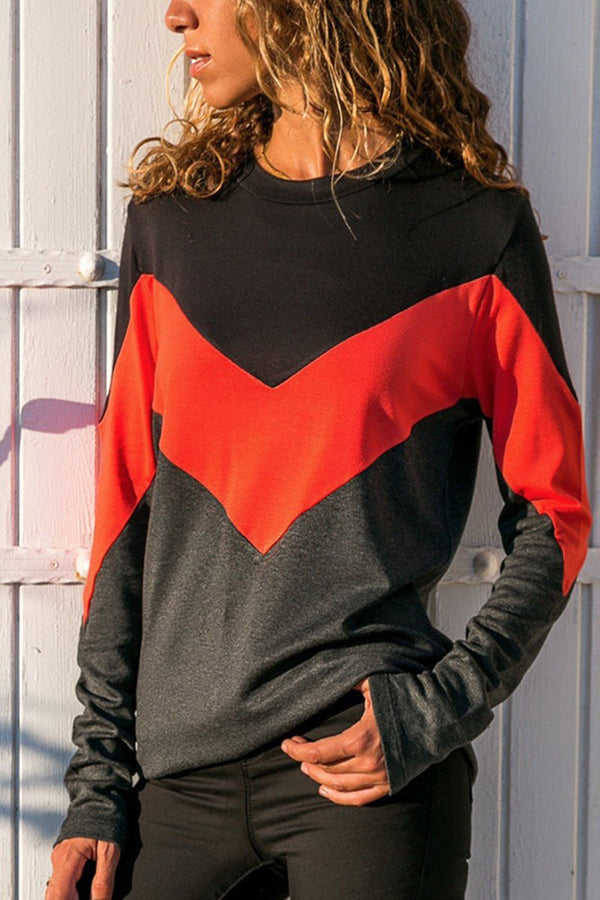 Casual Round Neck Color Block Long Sleeve Tee-S / Orange-looksinn