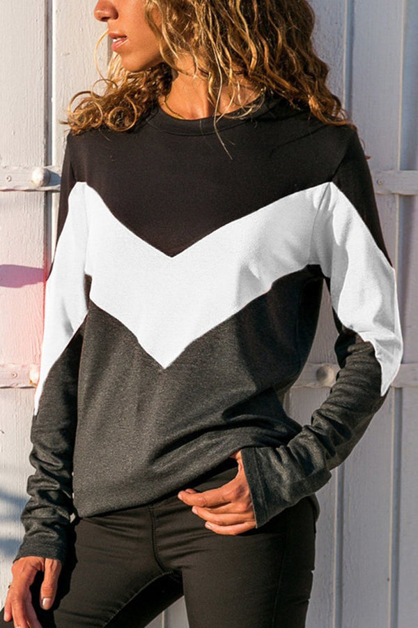 Casual Round Neck Color Block Long Sleeve Tee-S / White-looksinn