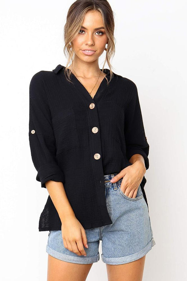 Casual Button-Front Loose Plain Shirt - Shirts-momochoice