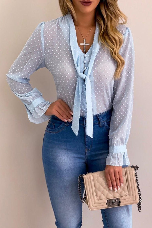 Stylish Tie-Neck Small Polka Dots Blouse