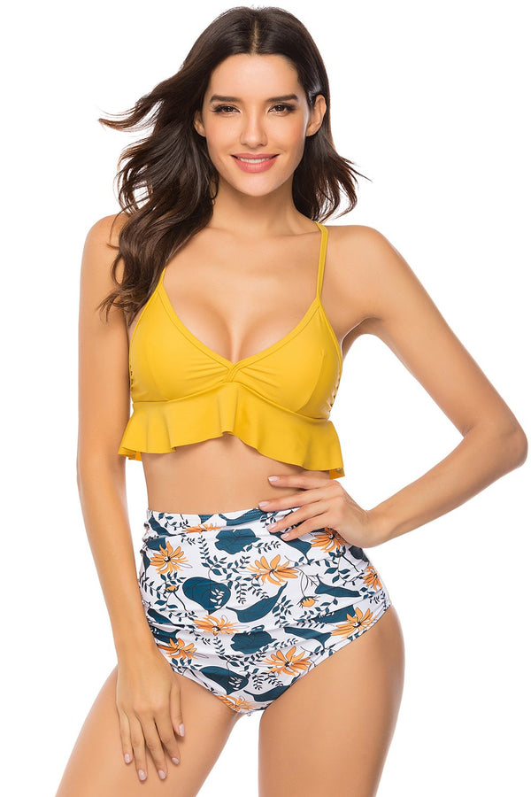 Stylish Printing Ruffles 2-Piece Swimwear