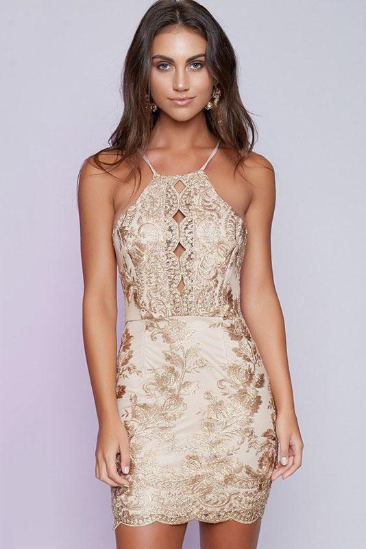 Sexy Hollow Backless Lace Dress - Lace Dresses-momochoice