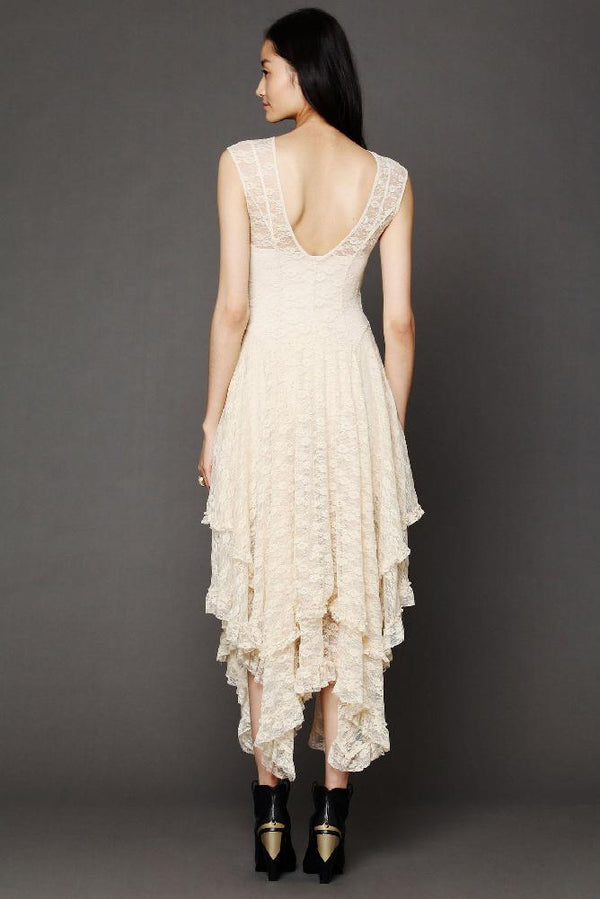 Sexy Asymmetric Patchwork Lace Dress - Lace Dress-momochoice