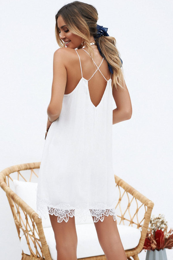 Sexy Criss-Cross Lace-Trim Lace Dress - Lace Dresses-momochoice