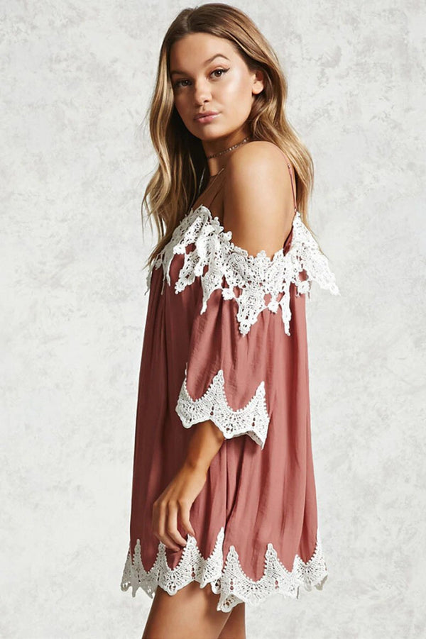 Chic Off-Shoulder Pleated Lace Dress - Lace Dresses-momochoice