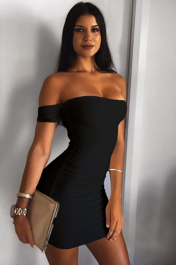 Sexy Off-Shoulder Club Dress - Club Dresses-momochoice