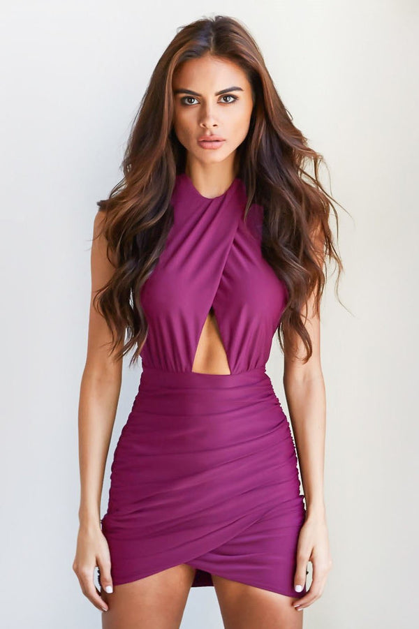 Sexy Purple Backless Club Dress - Club Dress-momochoice