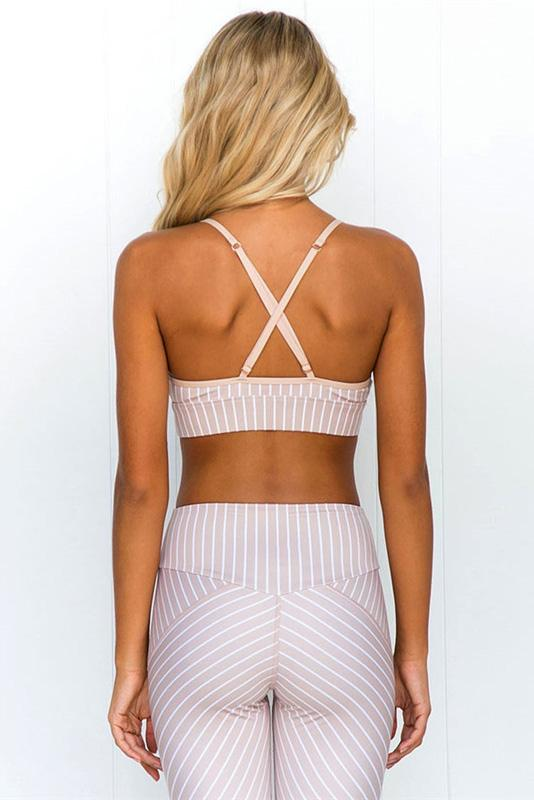 Stripes Lace-Trim Crop Yoga Set