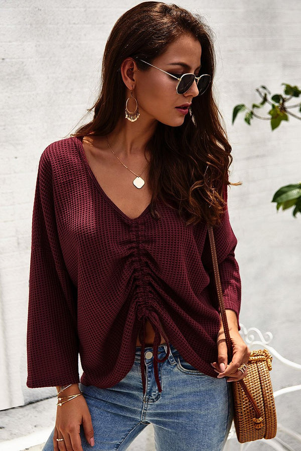 Solid Color Pleated Loose-Fit Tee-S / Burgundy-looksinn