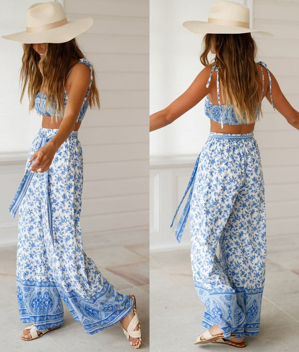 Stylish Printing Belt-Tied 2-Piece Outfit