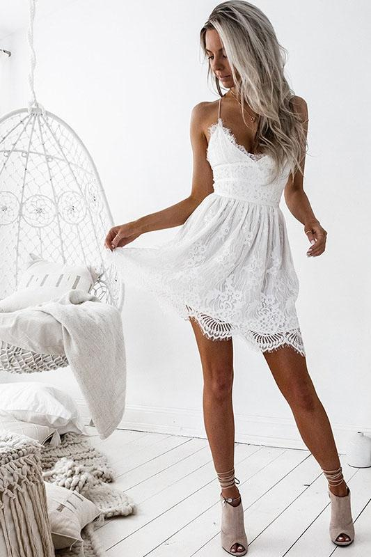 Sexy Backless Spaghetti Strap Lace Day Dress - -momochoice