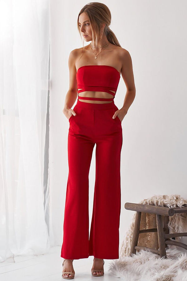 Vintage Bandeau Cut-Out Jumpsuit