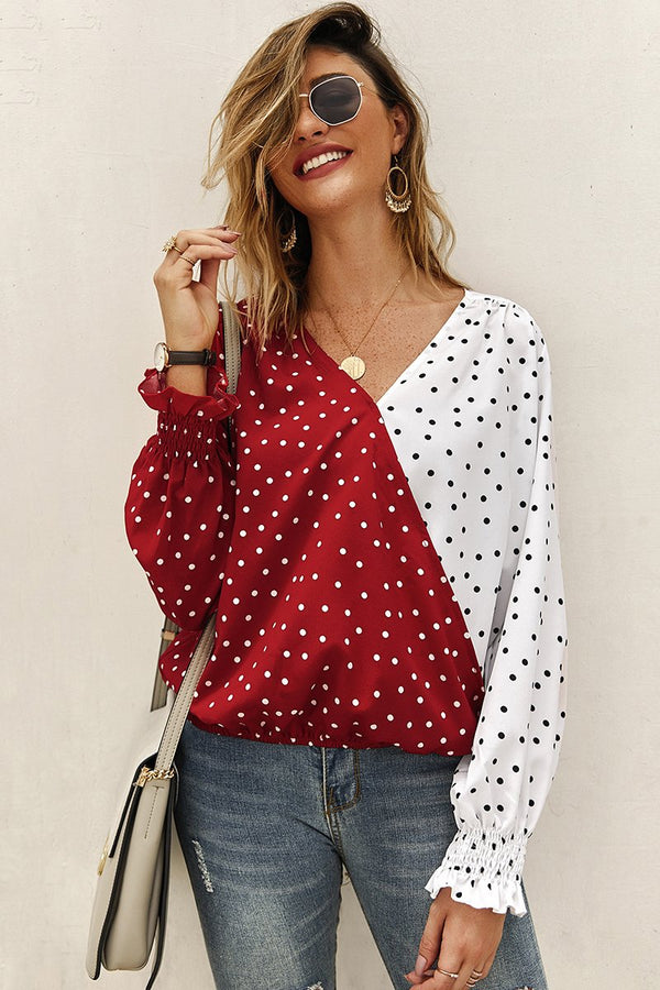 Stylish V-Neck Polka Dots Patchwork Blouse-S / Red-looksinn