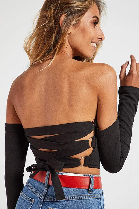 Sexy Off-Shoulder Strap Crop Tee - Tees-momochoice
