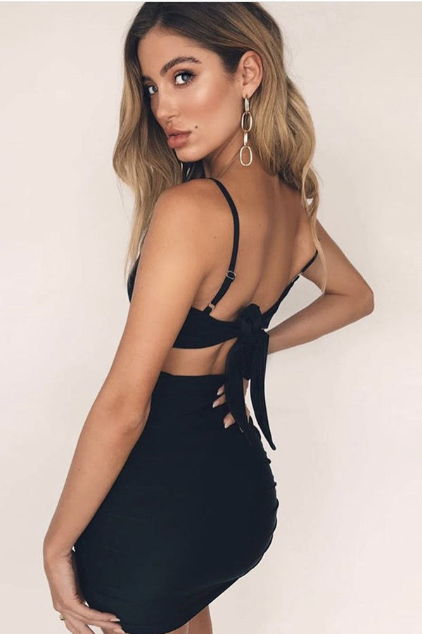 Vogue Lace-Up Backless Club Dress - Club Dresses-momochoice