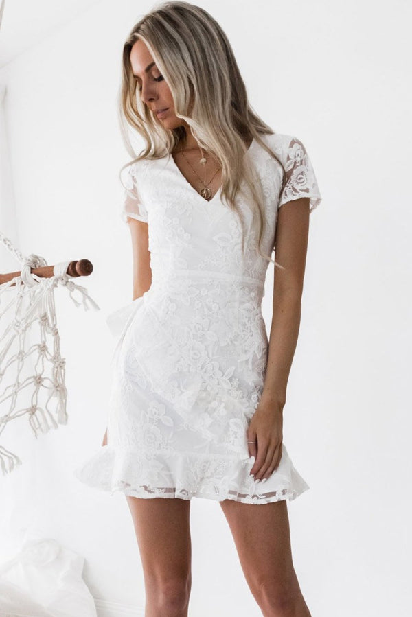 Stylish Lace See-Through Day Dress-S / White-looksinn