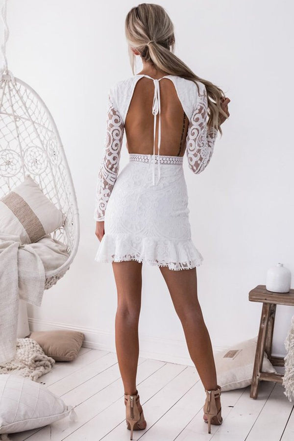 Sexy Backless Long Sleeve Lace Dress-[variant_title]-looksinn