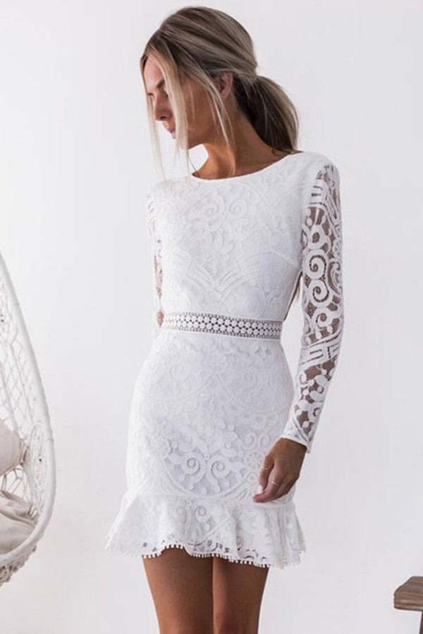 Sexy Backless Long Sleeve Lace Dress-S / White-looksinn