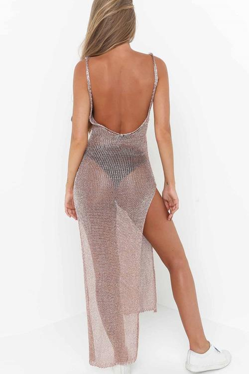 Charming Side-Slit Backless Cover Up - Cover Ups-momochoice
