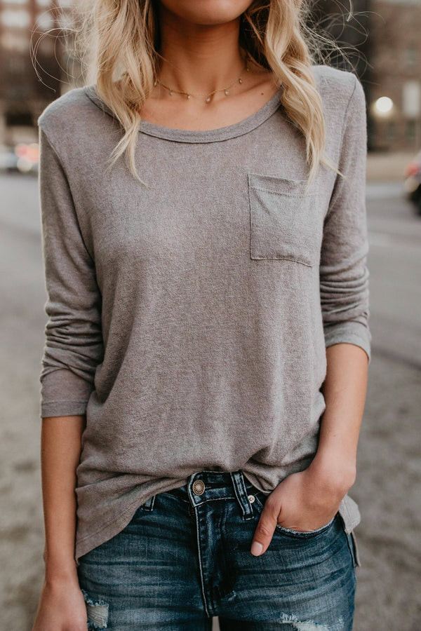 Simple Round-Neck Pocket Women's Tee-S / Gray-looksinn
