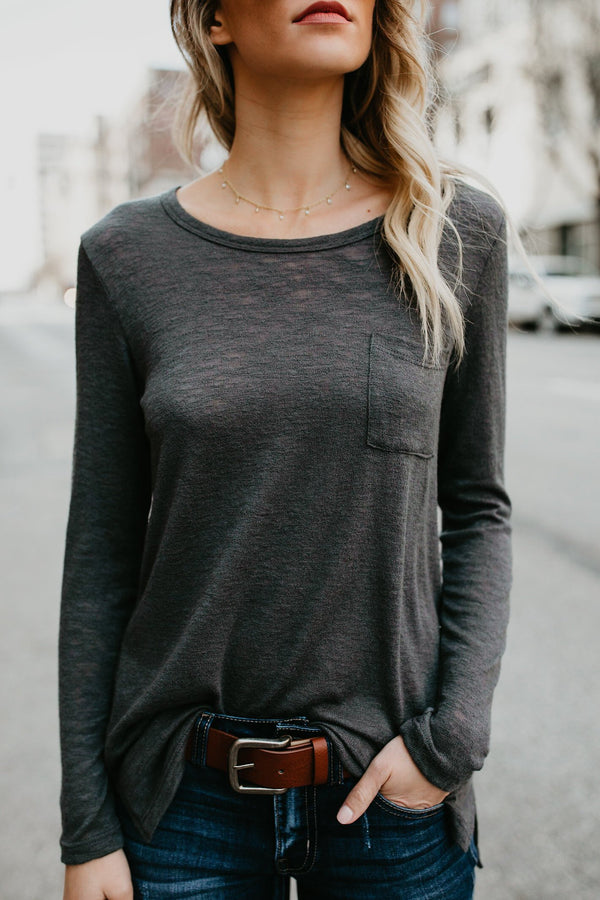 Simple Round-Neck Pocket Women's Tee-S / Dark Gray-looksinn