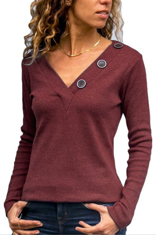 Solid Color V-Neck Buttoned Tee-S / Burgundy-looksinn