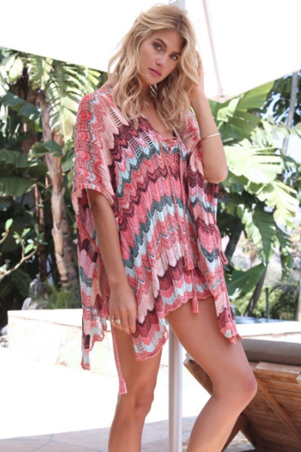 Stylish Colored Stripes Lace-Up Cover Up