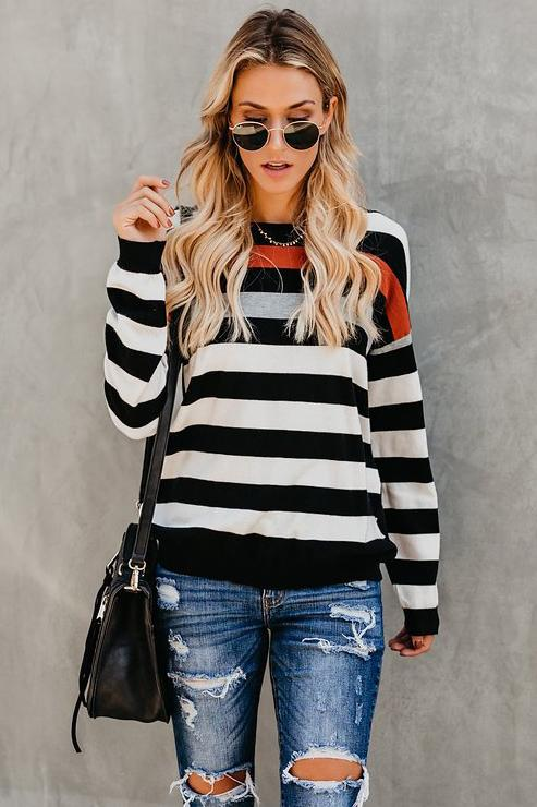Casual Stripes Round-Neck Soft Tee - Tees-momochoice