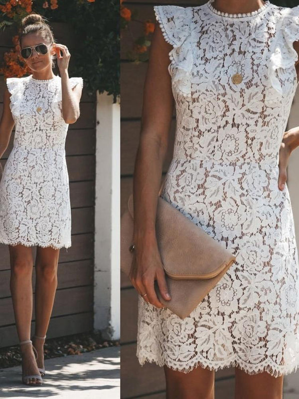 Sleeveless Lace Dress - -momochoice
